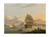 A Ship of the Line Off Plymouth, 1817 Giclee Print by Thomas Luny