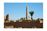 View of a Hieroglyph Wall and the Two Obelisks of Tuthmosis II (Left) and Queen Hatshepsut… Giclee Print