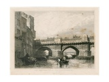 The Southwark End of Old London Bridge Giclee Print by Edward William Cooke