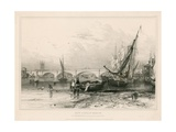 New London Bridge, from Billingsgate (Low Water) Drawn 31 July 1832 Giclee Print by Edward William Cooke