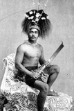Talolo, Wearing the Ceremonial Dress of a Manaia, C.1895 Photographic Print by Thomas Andrew