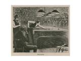 Illustration Depicting Men Playing Billiards Giclee Print