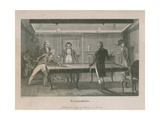 Illustration Depicting a Group of Men Playing Billiards Giclee Print