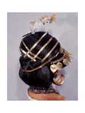 Mounted on a Model are Hair Ornaments, Earrings and Necklaces Giclee Print