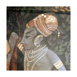Detail of a Palace Wall Hanging Painted with a Scene from the Legend of Krishna, in Which He… Giclee Print