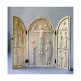 A Triptych for Private Devotional Use Carved with the Crucifixion Attended by the Archangels… Giclee Print