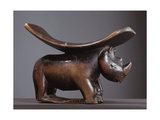 A Headrest with Support Carved as a Rhinoceros Giclee Print
