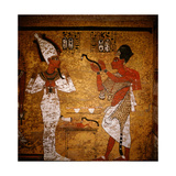 Wall Painting from the Tomb of Tutankhamun Showing King Aye Performing the Mouth Opening Ritual… Giclee Print