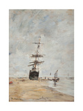 Sailing Boat at Low Tide Giclee Print by Eugène Boudin