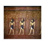 A Detail of the Hieroglyphic Inscriptions and Images of the Pharaoh with Anubis, God of… Giclee Print