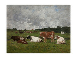 Cows at the Pasture Giclee Print by Eugene Louis Boudin