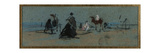 Women and Horse on the Beach Giclee Print by Eugene Louis Boudin