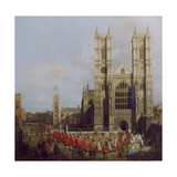 Painting of Westminster Abbey with Procession of Knights of the Order of the Bath by Canaletto Giclee Print