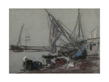 Washerwomen Near Beached Boats Giclee Print by Eugène Boudin