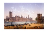 Houses of Parliament from the South Bank, Print Made by Ch. Riviere, 1862 Giclee Print by Achille-louis Martinet