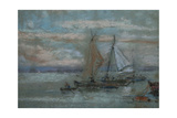 The Jetty at Trouville Giclee Print by Eugene Louis Boudin