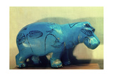 A Statue of a Hippopotamus Decorated with Water Plants and Papyrus Plants Giclee Print
