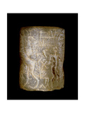 Early Dynastic Sumerian Alabaster Cylinder Seal, Inscribed with a Scene of a Seated Figure Being… Giclee Print