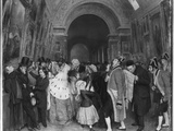 Four O'Clock, known also as Closing of the Annual Salon of Painting Partly Installed Then in the… Photographic Print by Francois Auguste Biard