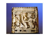 An Ivory Panel, Probably from a Bed or a Swing, Carved with a Tantric Scene of a Couple Making Love Giclee Print