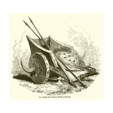 British War Chariot, Shield, and Spears Giclee Print