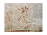 A Detail of a Relief in the Tomb of Princess Sesh-Seshet Idut at Saqqara Showing Hunting… Giclee Print