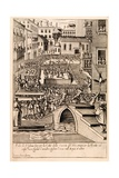 Animal Baiting at the Venetian 'Festival of the Hunt', Illustration from the Series 'Habiti… Giclee Print by Giacomo Franco
