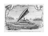 New Caledonia, Pirogue of the Isle of Pines, after a Pen and Ink Drawing of a Deportee,… Stampa giclée