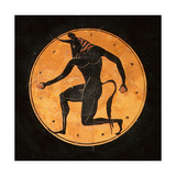 Attic, Bilingual, Eye-Cup with Black-Figure Interior Depicting Running Minotaur and Inscription… Giclee Print