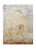 A Relief in the Tomb of Princess Sesh-Seshet Idut at Saqqara Showing Hunting Hippopotamus from… Giclee Print