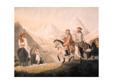 William Moorcroft and Hyder Jung Hearsey Travelling in Western Tibet Disguised as Indian Holy… Giclee Print