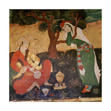 A Wall Painting in the Hall of One Hundred Pillars in Isfahan Depicting a Man and a Girl Taking… Giclee Print