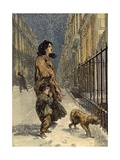 The Homeless Poor, Mother and Child with Dog in the Snow Giclee Print by Sir John Gilbert