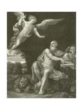 St Jerome with the Angel Lámina giclée por  Domenichino