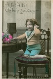 Child Using Telephone Photographic Print