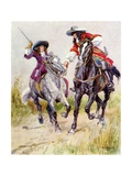 Masked Highwayman Stopping Beautiful Girl Giclee Print by Charles Edmund Brock