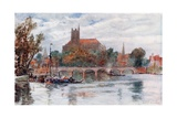 The Bridge and Cathedral, Auxerre Giclee Print by Herbert Menzies Marshall
