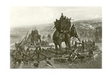 Hannibal Crossing the Rhone Lámina giclée por Henri-Paul Motte
