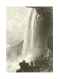 Horse Shoe Fall, Niagara. Entrance to the Cavern Of, on the English Side Giclee Print by Thomas Allom
