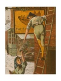 Christmas Morning - Decorating the Signboard Giclee Print by Henry John Yeend King