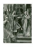 Richard I Delivering the Crown to the Archbishop before the Act of Crowning Giclee Print by Richard Caton Woodville II