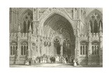 Entrance to Lincoln Cathedral Giclee Print by Thomas Allom