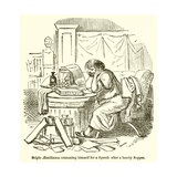 Scipio Aemilianus Cramming Himself for a Speech after a Hearty Supper Giclee Print by John Leech