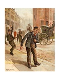 A Doubtful Turn, Boy Rollerskating Giclee Print by Frank Feller