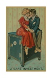 Man and Woman Embracing on a Safe, a Safe Investment Giclee Print