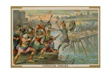 Horatius Cocles, Roman Soldier, Defending the Pons Sublicius Against the Invading Army of the… Giclee Print