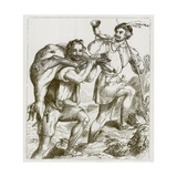 Robin Hood and Little John Giclee Print by F. Tayler