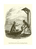 Guy Fawkes and Robert Catesby Landing Powder Giclee Print by George Cruickshank