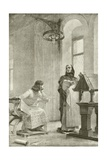 The Education of Louis IX Giclee Print by Theobald Chartran