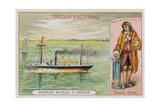 The First Steam-Powered Boat and Denis Papin, French 17th-18th Pioneer of Steam Power Giclee Print